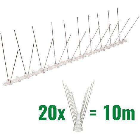 10 mètre pics anti pigeons 2 rangées en polycarbonate - solution de qualité pour contrôle des oiseaux
