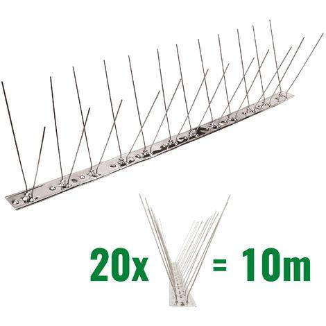 10 mètre pics anti pigeons 2 rangées V2A - solution de qualité pour contrôle des oiseaux base d'acier inoxidable de contrôle des oiseaux