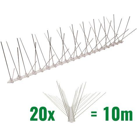 10 mètre pics anti pigeons 4 rangées en polycarbonate - solution de qualité pour contrôle des oiseaux
