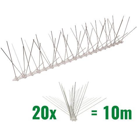 10 mètre pics anti pigeons 5 rangées en polycarbonate - solution de qualité pour contrôle des oiseaux