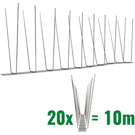 10 metros de Púas anti-gaviotas V2A -Standard con base de acero inoxidable - 2-hileras de Púas anti-gaviotas la solución de calidad para el control de aves