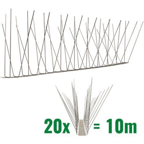 10 metros de Púas anti-gaviotas V2A -Standard con base de acero inoxidable - 4-hileras de Púas anti-gaviotas la solución de calidad para el control de aves