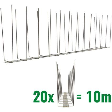 10 metros de Púas anti-gaviotas V2A -Titan con base de acero inoxidable - 2-hileras de Púas anti-gaviotas la solución de calidad para el control de aves