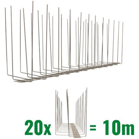10 metros de Púas anti-gaviotas V2A -Titan con base de acero inoxidable - 3-hileras de Púas anti-gaviotas la solución de calidad para el control de aves
