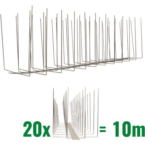 10 metros de Púas anti-gaviotas V2A -Titan con base de acero inoxidable - 4-hileras de Púas anti-gaviotas la solución de calidad para el control de aves
