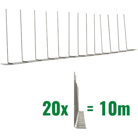 10 metros de Púas anti-gaviotas V2A -Titant con base de acero inoxidable - 1-hileras de Púas anti-gaviotas la solución de calidad para el control de aves