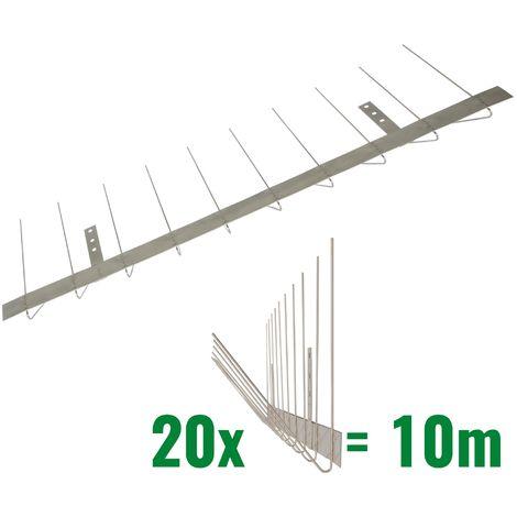 10 metros de Púas antipalomas para canalón -Standard con base de acero inoxidable - 2-hileras de Púas antipalomas la solución de calidad para el control de aves