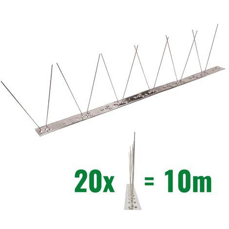 10 metros de Púas antipalomas V2A con base de Acero inoxidable flexible - 1-hileras de Púas antipalomas la solución de calidad para el control de aves