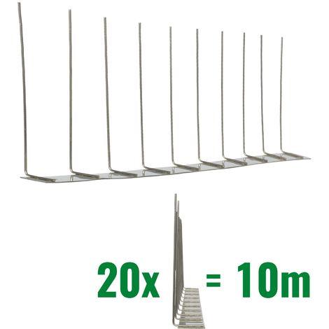 10 metros de Púas antipalomas V2A-Standard con base de acero inoxidable - 1-hileras de Púas antipalomas la solución de calidad para el control de aves