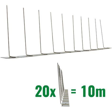 10 metros de Púas antipalomas V2A-Titan con base de acero inoxidable - 1-hileras de Púas antipalomas la solución de calidad para el control de aves