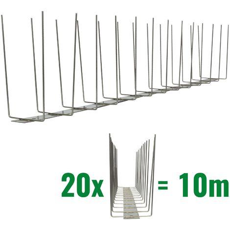 10 metros de Púas antipalomas V2A-Titan con base de acero inoxidable - 2-hileras de Púas antipalomas la solución de calidad para el control de aves