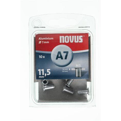 10 Novus Aluminium-Blindnietmuttern Ø7mm,11,5 mm,Typ A7/11,5 mm M5 Nr.: 045-0042