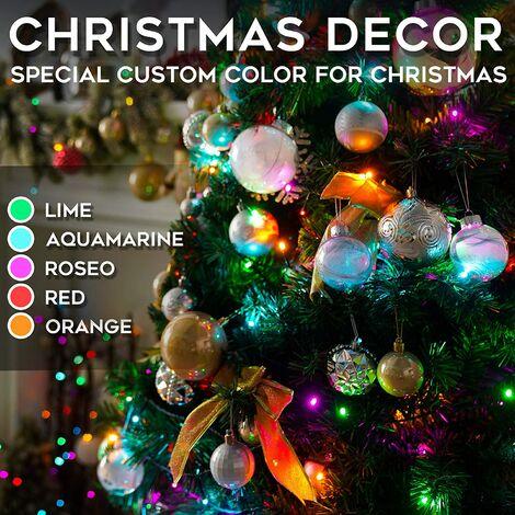 10 Ones Design 100 LED 33ft Lumières de Noël solaires, lumières de Noël à énergie solaire avec 8 modes d'éclairage, fil vert multicolore imperméable pour le décor de vacances, fête de mariage d'arbres de jardin de patio extérieur intérieur