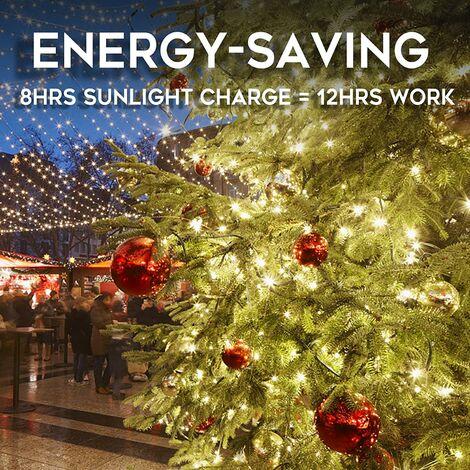 10 Ones Design 100 LED guirlandes lumineuses de 33 pieds, lumières de Noël à énergie solaire avec 8 modes d'éclairage, fil vert blanc chaud imperméable pour le décor de vacances, fête de mariage d'arbres de jardin de patio extérieur intérieur.