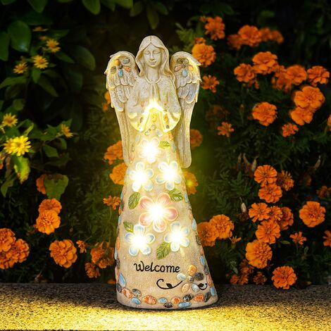 """main image of """"10 Ones Design Garden Angel Figurines Outdoor Decor, Garden Art Outdoor for Fall Winter Decor, Solar Angel with 6 LEDs for Patio, Lawn, Yard Art, Cemetery Grave Decoration, Sympathy Gift, Housewarming Gift"""""""