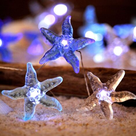 """main image of """"10 Ones Design Ocean Themed Decorative String Lights, Starfish Beach Sea Lights with Remote 10 ft 30 LEDs for Covered Outdoor, Summer Camping, Wedding, Birthday, Bedroom, Office, Home, Parties Ornament"""""""