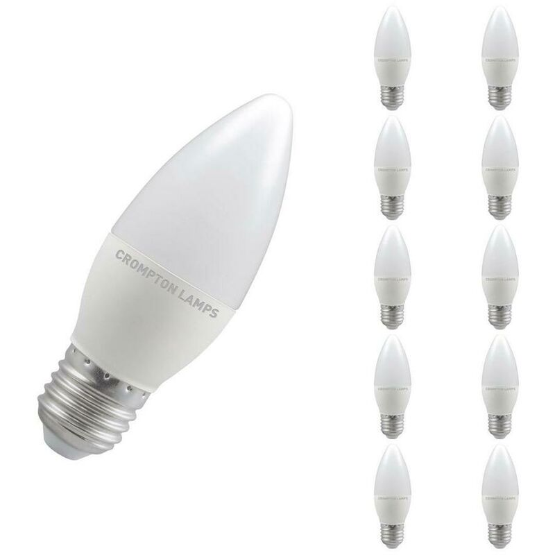 Image of (10 Pack) Crompton Lamps LED Candle 5W ES-E27 Dimmable (40W Equivalent) 4000K Cool White Opal 470lm ES Screw E27 Frosted Thermal Plastic Multipack