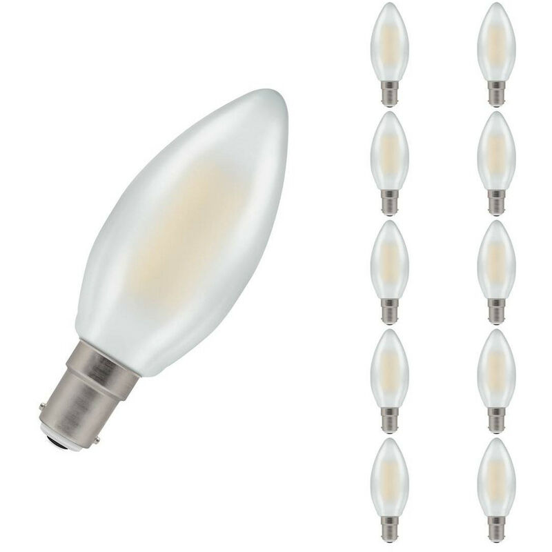 Image of (10 Pack) Crompton Lamps LED Candle 5W SBC-B15d Dimmable Filament (40W Equivalent) 2700K Warm White Pearl 470lm SBC Small Bayonet B15 C35 Frosted