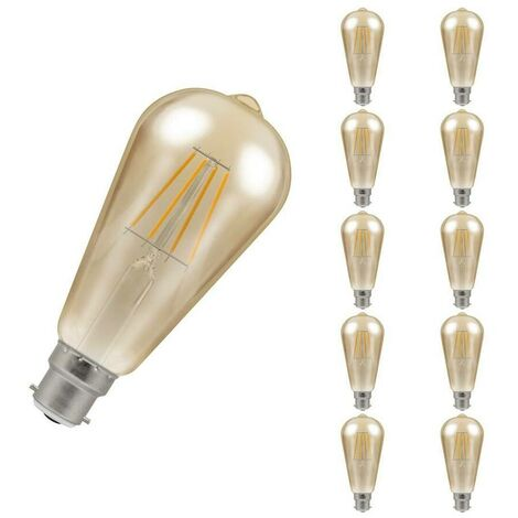 (10 Pack) Crompton Lamps LED Squirrel Cage ST64 5W BC-B22d Dimmable Filament (40W Equivalent) 2200K Extra Warm White Antique Bronze 410lm BC Bayonet B22 Vintage Edison Multipack Light Bulbs