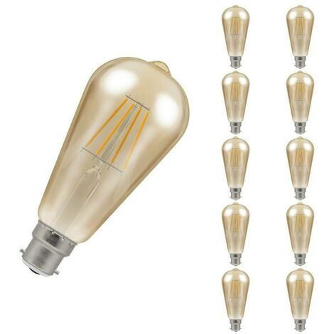 (10 Pack) Crompton Lamps LED Squirrel Cage ST64 7.5W BC-B22d Dimmable Filament (50W Equivalent) 2200K Extra Warm White Antique Bronze 638lm BC Bayonet B22 Vintage Edison Multipack Light Bulbs
