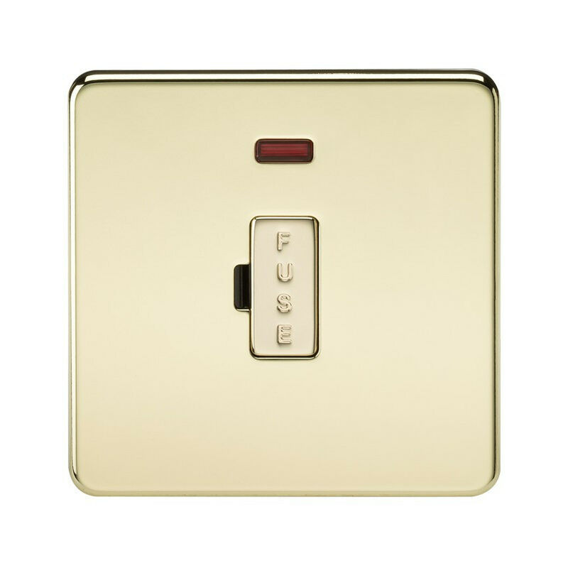 Image of 10 PACK - Knightsbridge Screwless 13A Fused Spur Unit with Neon - Polished Brass