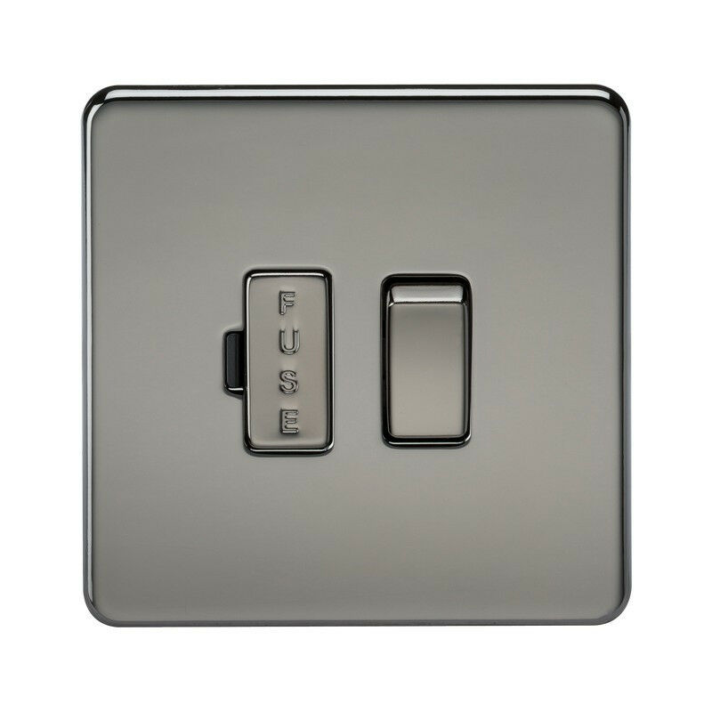 Image of 10 PACK - Knightsbridge Screwless 13A Switched Fused Spur Unit - Black Nickel