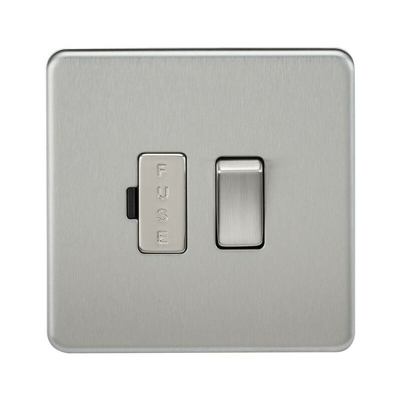 Image of 10 PACK - Knightsbridge Screwless 13A Switched Fused Spur Unit - Brushed Chrome