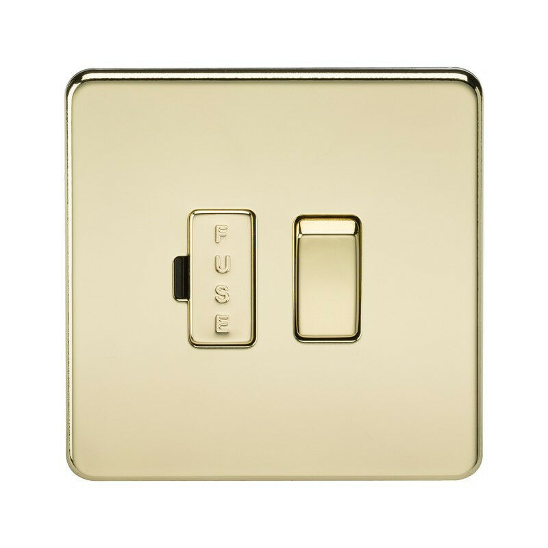 Image of 10 PACK - Knightsbridge Screwless 13A Switched Fused Spur Unit - Polished Brass