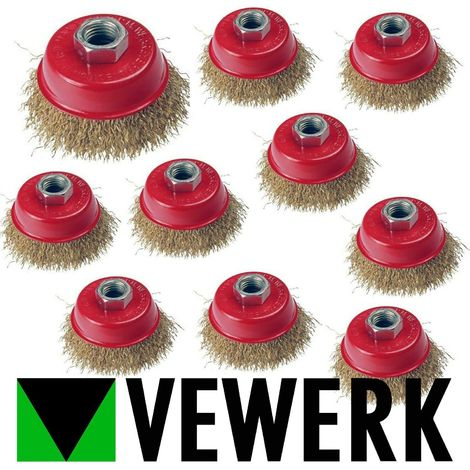 10 PACK VEWERK 65mm Brass Wire Cup Brush Rust Removal Rotary Wheel 2126