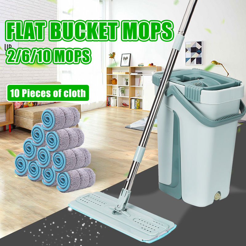 Image of 10 Pad Flat Squeeze Self-cleaning Drying Wringer Mop Bucket Floor System Type A