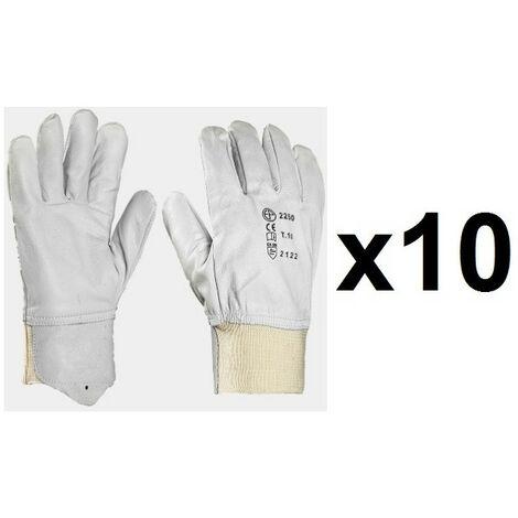 10 paires de gants cuir tout fleur poignet tricot EUROPROTECTION MO2250 - plusieurs modèles disponibles