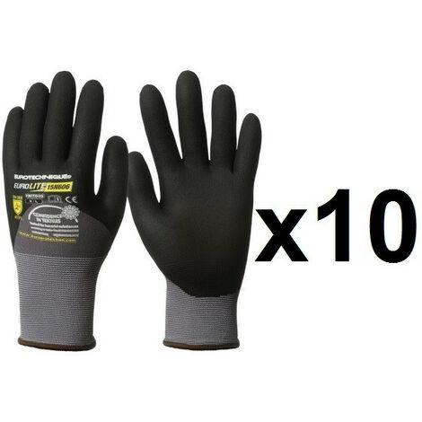 10 paires de gants micro mousse enduction 3/4 nitrile 15N606 EuroLite - plusieurs modèles disponibles