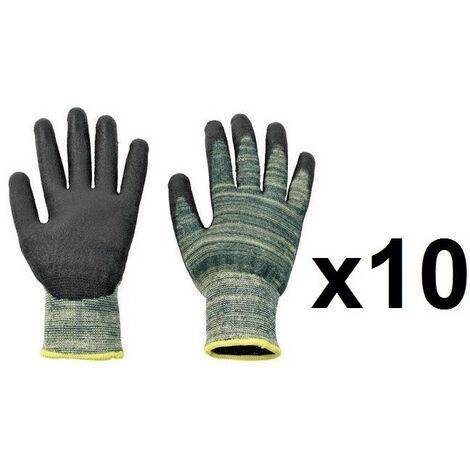 10 paires de Gants para-amide enduit PU Sharpflex - plusieurs modèles disponibles