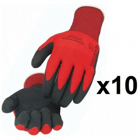 10 paires de gants polyamide enduit PVC NYMR15CFTN SINGER - plusieurs modèles disponibles