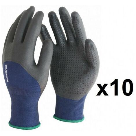 10 paires de gants polyester élastanne 3/4 enduit nitrile avec picots PER134 SINGER - plusieurs modèles disponibles