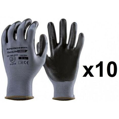 """main image of """"10 paires de gants textile enduction nitrile 13N400 Eurotechnique - plusieurs modèles disponibles"""""""