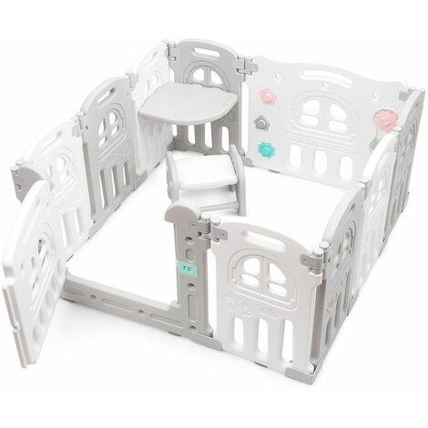 10 Panel Foldable Baby Playpen Kids Plastic Play Pens Room Divider W/ Desk Stool