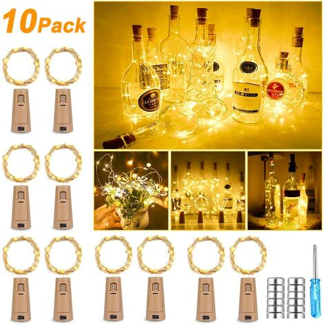 10 pcs 25 LEDs 2.5M Bottles Light Warm White Bottle LED Fairy Lights Mood Lights Wine Bottle Battery Operated for Bottle DIY, Decor, Party, Holiday, Christmas