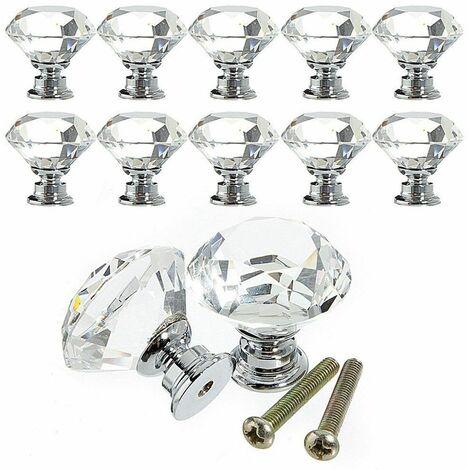 10 Pcs 30 mm Verre Placard Boutons de cristal forme de diamant Poignée de traction pour tiroirs Commode Armoire placards de cuisine