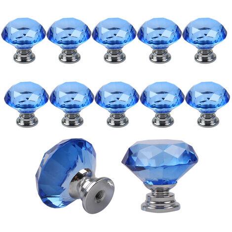 10 Pcs 30 mm Verre Placard Boutons de cristal forme de diamant Poignée de traction pour tiroirs Commode Armoire placards de cuisine,Bleu