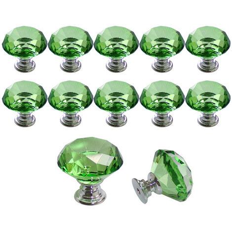 10 Pcs 30 mm Verre Placard Boutons de cristal forme de diamant Poignée de traction pour tiroirs Commode Armoire placards de cuisine?Vert