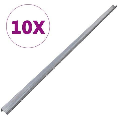 10 pcs Fence Posts Galvanised Steel 2 m