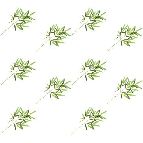 10 pcs Feuilles artificielles de bambou Vert 60 cm