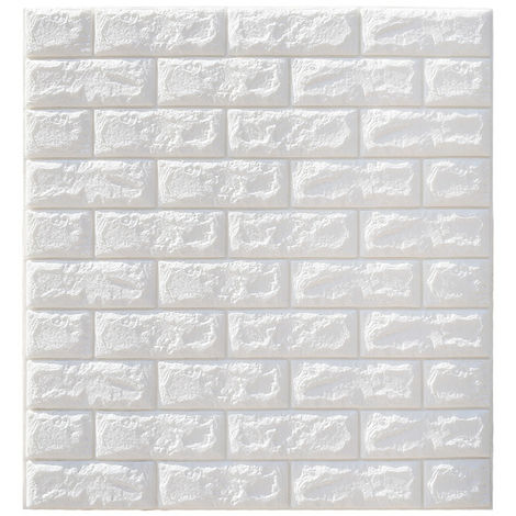 10 Pcs Papier Peint 3D 70x77cm étanche Brique Mur Autocollant blanc