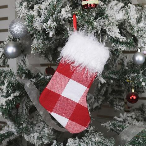 """10"""" Petit Noel De Bas De Bas De Noel, Non-Tisse Tissu A Carreaux Style Peluche Revers En Fausse Fourrure Pour Decoration De Noel Et La Famille Holiday Party Decor, Noir Blanc"""