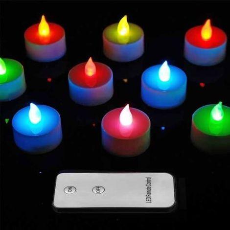 10 Pezzi Candele Candela TEALIGHT a Led RGB Luce Oscillante Con Telecomando