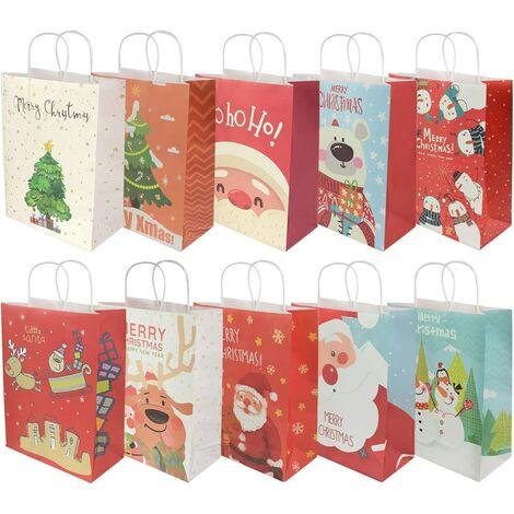 10 pezzi Sacchetti regalo di Natale, sacchetti al dettaglio Borse in carta per feste Borsa Kraft con manico per feste di Natale, compleanno, tea party, matrimoni e feste