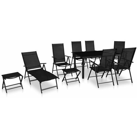 10 Piece Outdoor Dining Set Aluminium Black