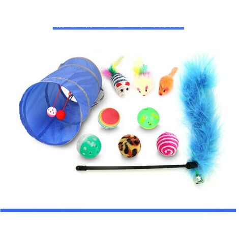 """main image of """"10-piece pet cat toy set, cat funny cat stick, mouse sisal ball toy, various combinations"""""""