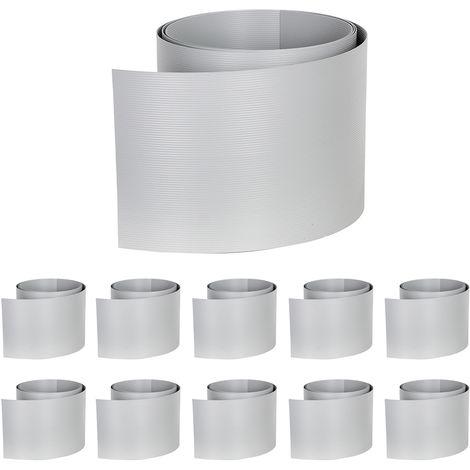 10 pièces Brise-vue PVC dur Brise-vue gris clair Clôture à double baguette en PVC dur